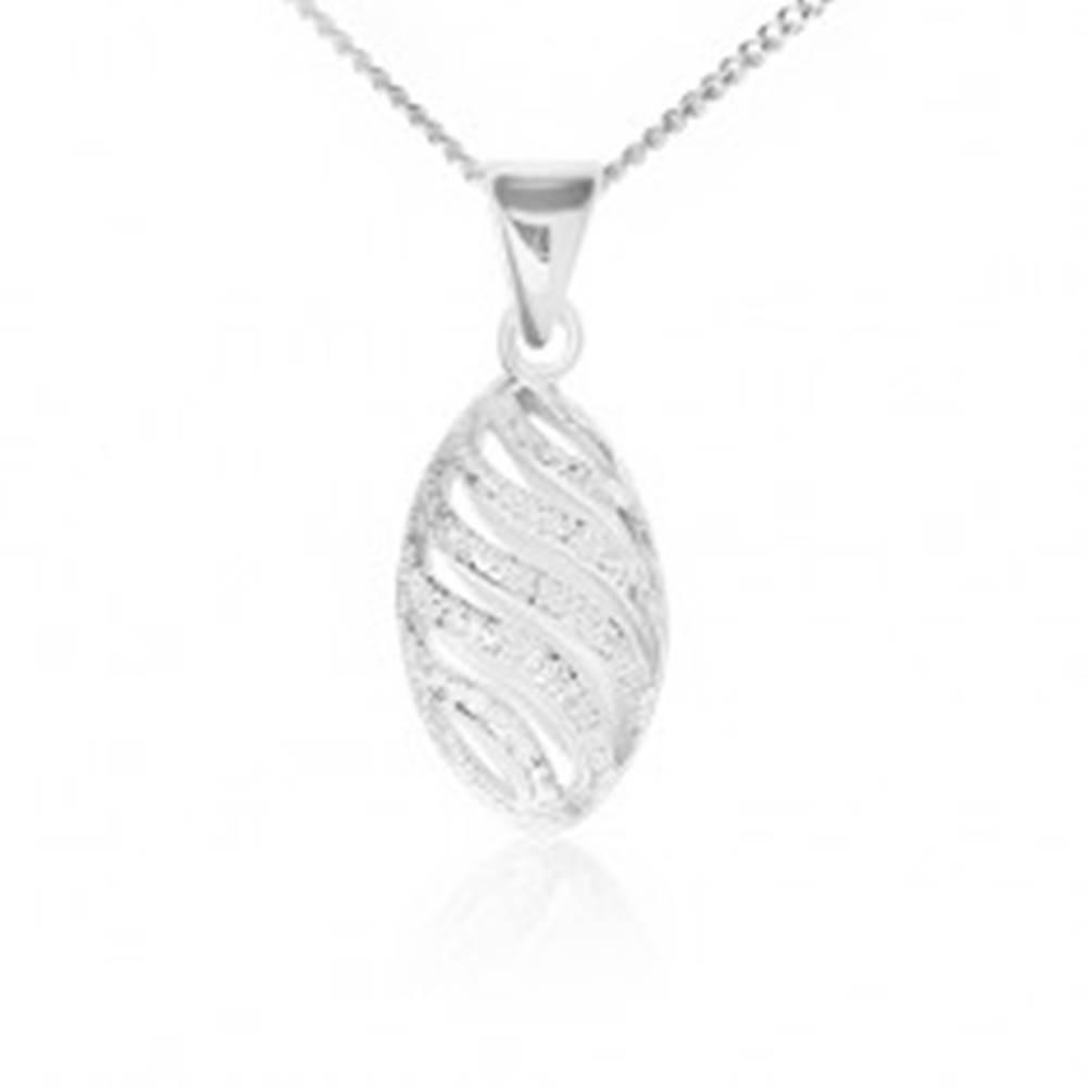 Šperky eshop Náhrdelník striebro 925, dutý vyrezávaný ovál, pieskovaný povrch