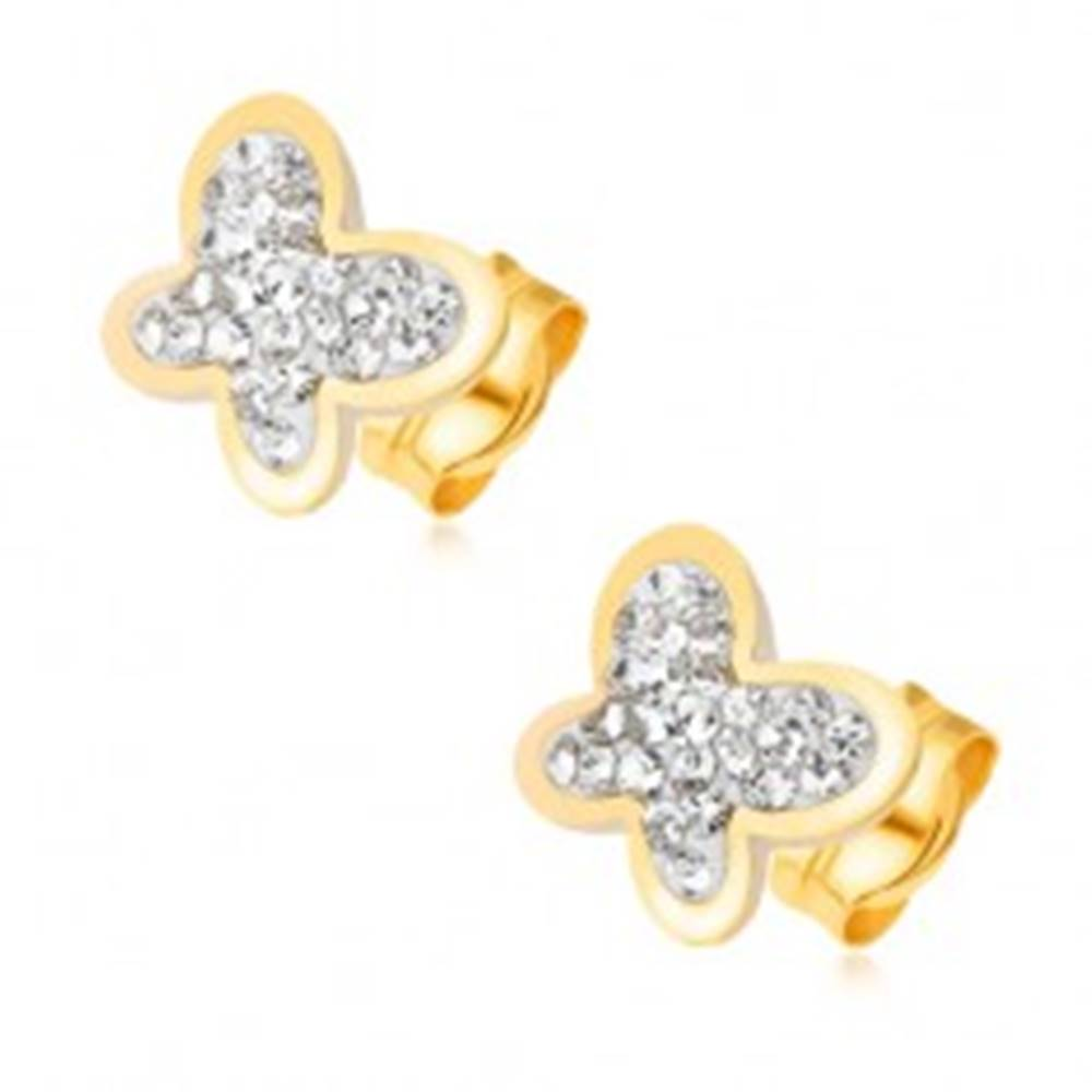 Šperky eshop Náušnice zo žltého 14K zlata - motýľ vykladaný čírymi zirkónikmi, ligotavý obrys