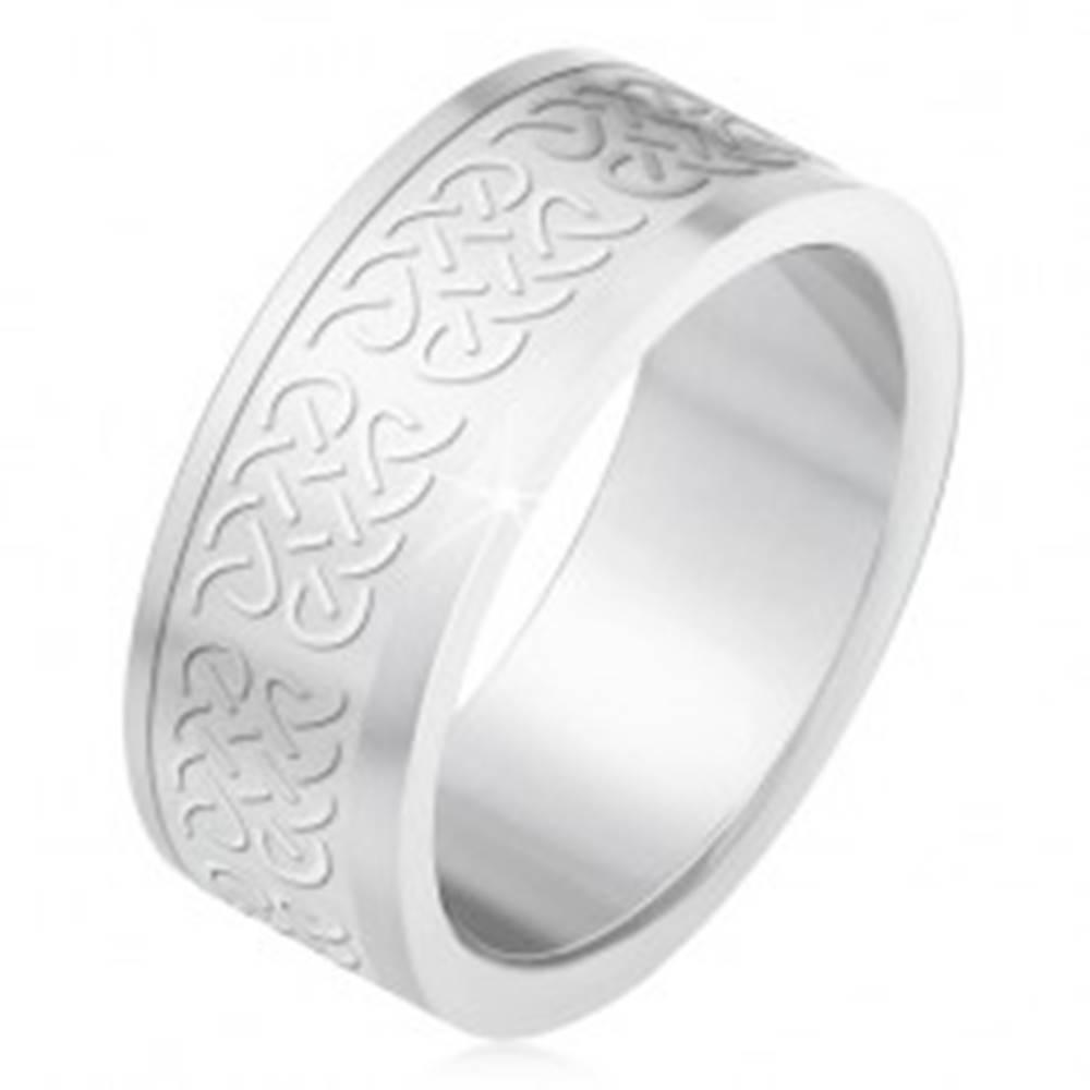 Šperky eshop Obrúčka z ocele 316L, matný gravírovaný pás, keltské uzly - Veľkosť: 55 mm