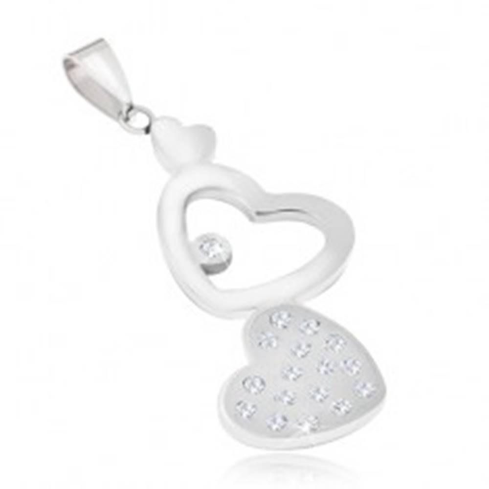 Šperky eshop Oceľový prívesok - hladké a zirkónové srdce, kontúra srdca
