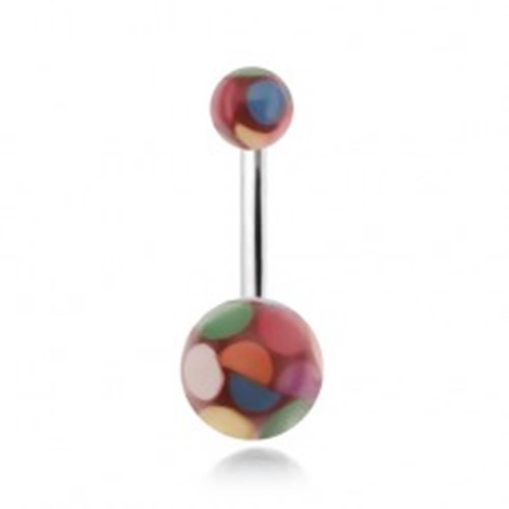 Šperky eshop Piercing do pupku, akrylové guličky s farebnými kruhmi
