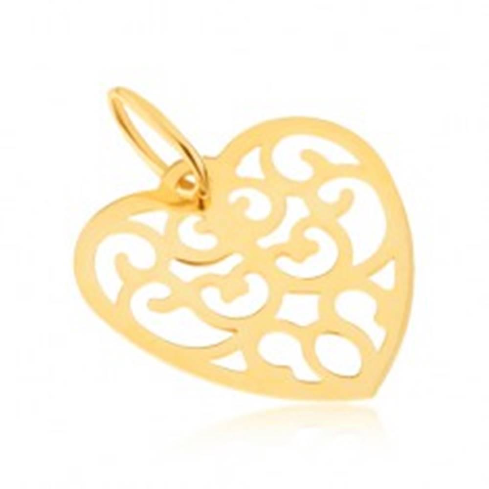 Šperky eshop Prívesok v žltom 14K zlate - pravidelné vyrezávané srdce, ornamenty