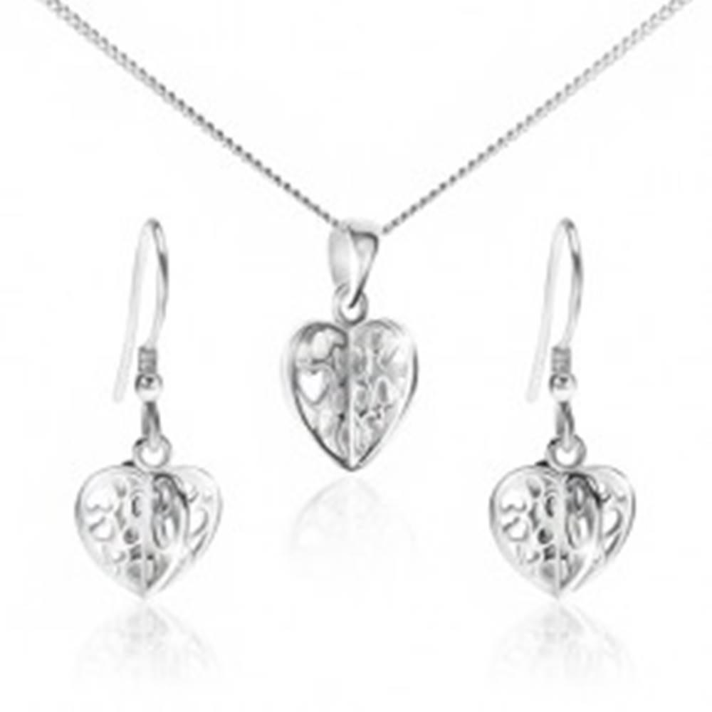 Šperky eshop Set zo striebra 925 - náhrdelník a náušnice, vyrezávané srdcia