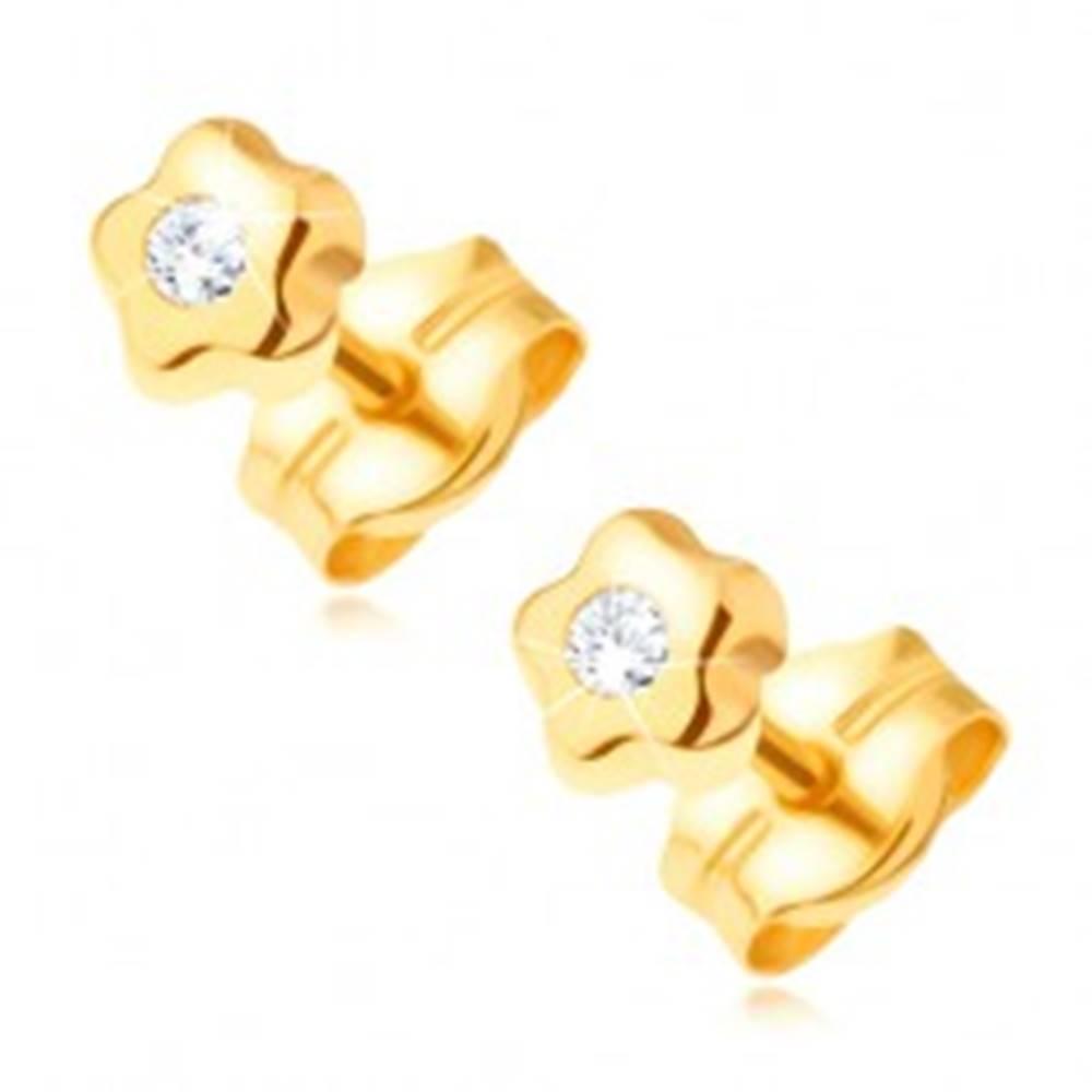Šperky eshop Zlaté náušnice 585 - drobný kvietok s čírym okrúhlym kamienkom