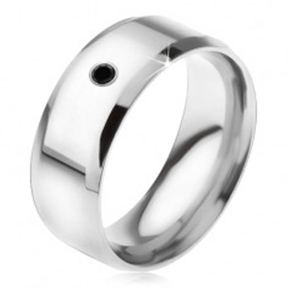 Šperky eshop Zrkadlovolesklý prsteň z ocele 316L, čierny kamienok - Veľkosť: 56 mm