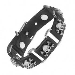 Čierny náramok zo syntetickej kože a ocele, lebky s prekríženými kosťami