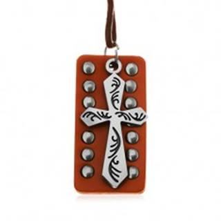 Kožený náhrdelník - oceľový kríž s čiernymi zárezmi, vybíjaný pás kože
