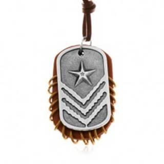 Kožený náhrdelník, prívesky - hnedý ovál s krúžkami a známka s hviezdou