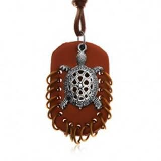 Náhrdelník z umelej kože, prívesky - hnedý ovál s krúžkami a korytnačka