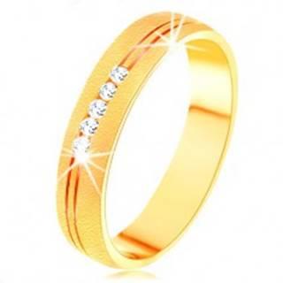 Prsteň v žltom 14K zlate so saténovým povrchom, dvojitý zárez, číre zirkóny - Veľkosť: 49 mm