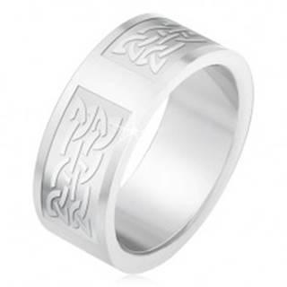 Prsteň z ocele 316L, gravírované pruhy s keltským uzlovým vzorom - Veľkosť: 55 mm