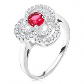 Prsteň zo striebra 925, zirkónový trojlístok, okrúhly červený kameň - Veľkosť: 49 mm