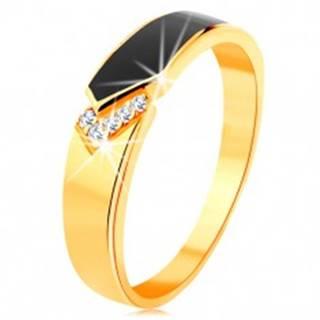 Prsteň zo žltého 14K zlata - čierny glazúrovaný pás so špicom, číre zirkóniky - Veľkosť: 49 mm