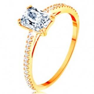 Prsteň zo žltého 14K zlata - vystupujúci zirkónový obdĺžnik, línie čírych zirkónikov - Veľkosť: 50 mm