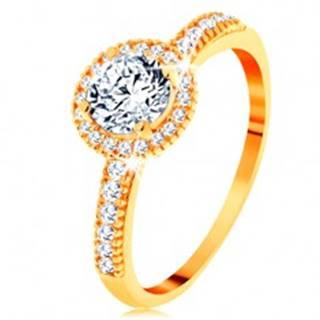 Prsteň zo žltého 14K zlata - zirkón čírej farby lemovaný drobnými zirkónikmi - Veľkosť: 49 mm