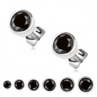 Strieborné 925 náušnice, okrúhla objímka, čierny zirkón - Hlavička: 3 mm