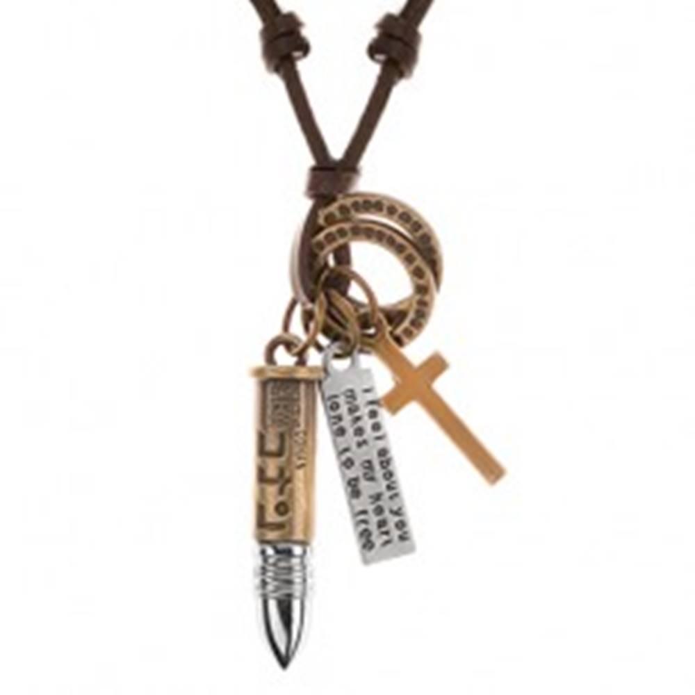 Šperky eshop Kožený náhrdelník hnedej farby, prívesky - nábojnica, kríž, známka a obruče
