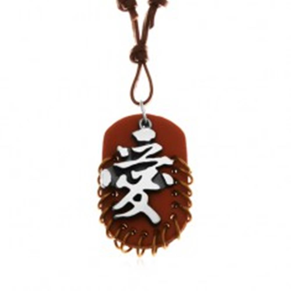 Šperky eshop Kožený náhrdelník, prívesky - hnedý ovál s krúžkami a sivo-čierny čínsky znak