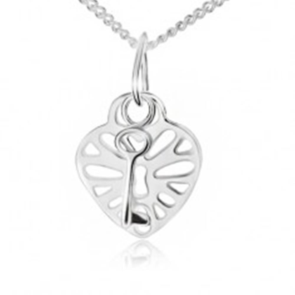 Šperky eshop Náhrdelník zo striebra 925, vyrezávaná srdcová zámka a kľúč
