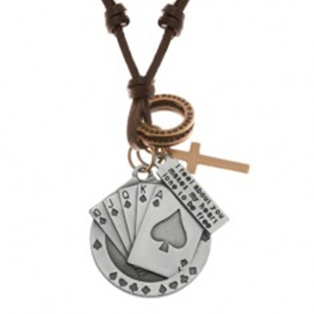 Šperky eshop Nastaviteľný kožený náhrdelník, prívesky - piková postupka, kríž, známka