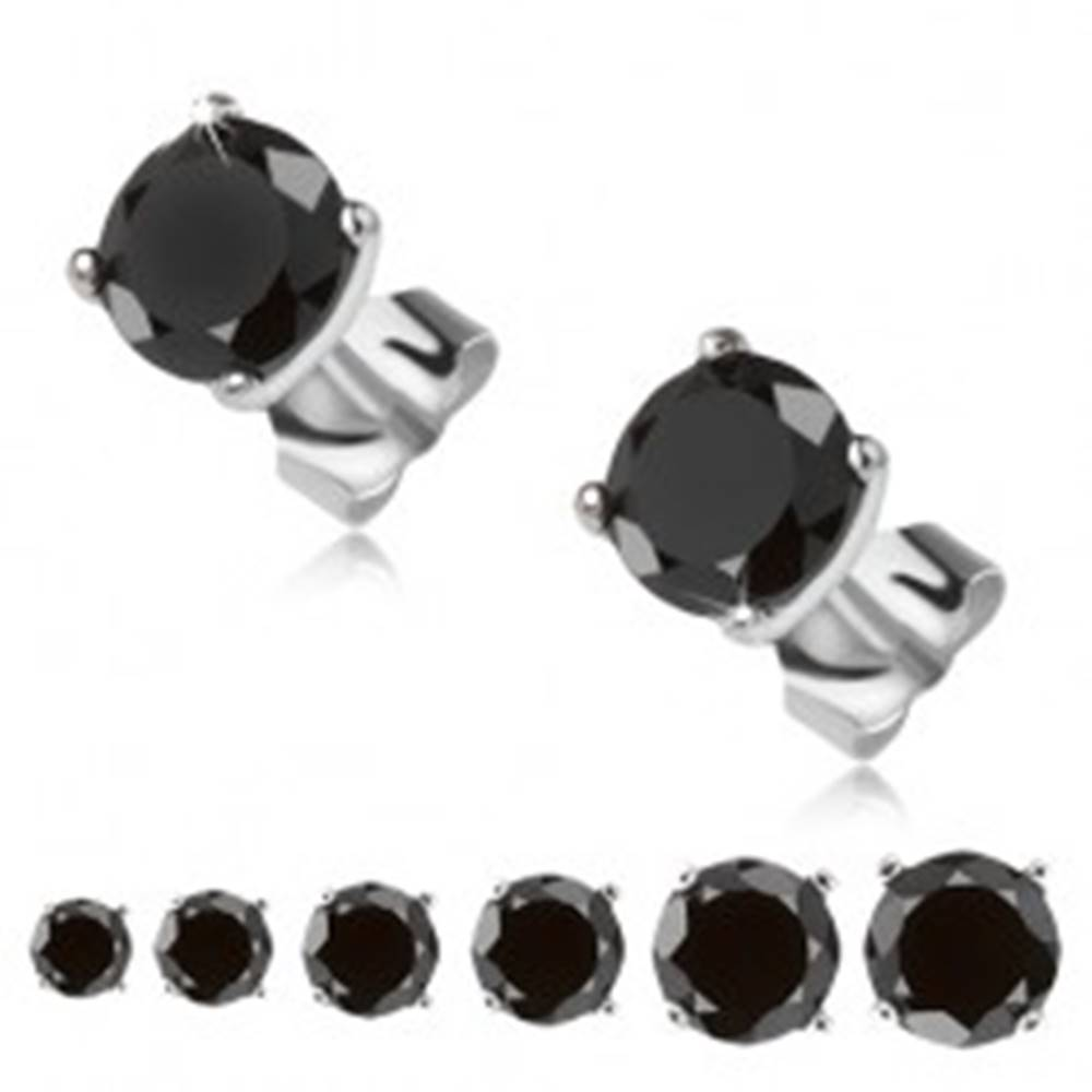 Šperky eshop Náušnice zo striebra 925, čierny okrúhly kamienok v kotlíku - Veľkosť zirkónu: 3 mm