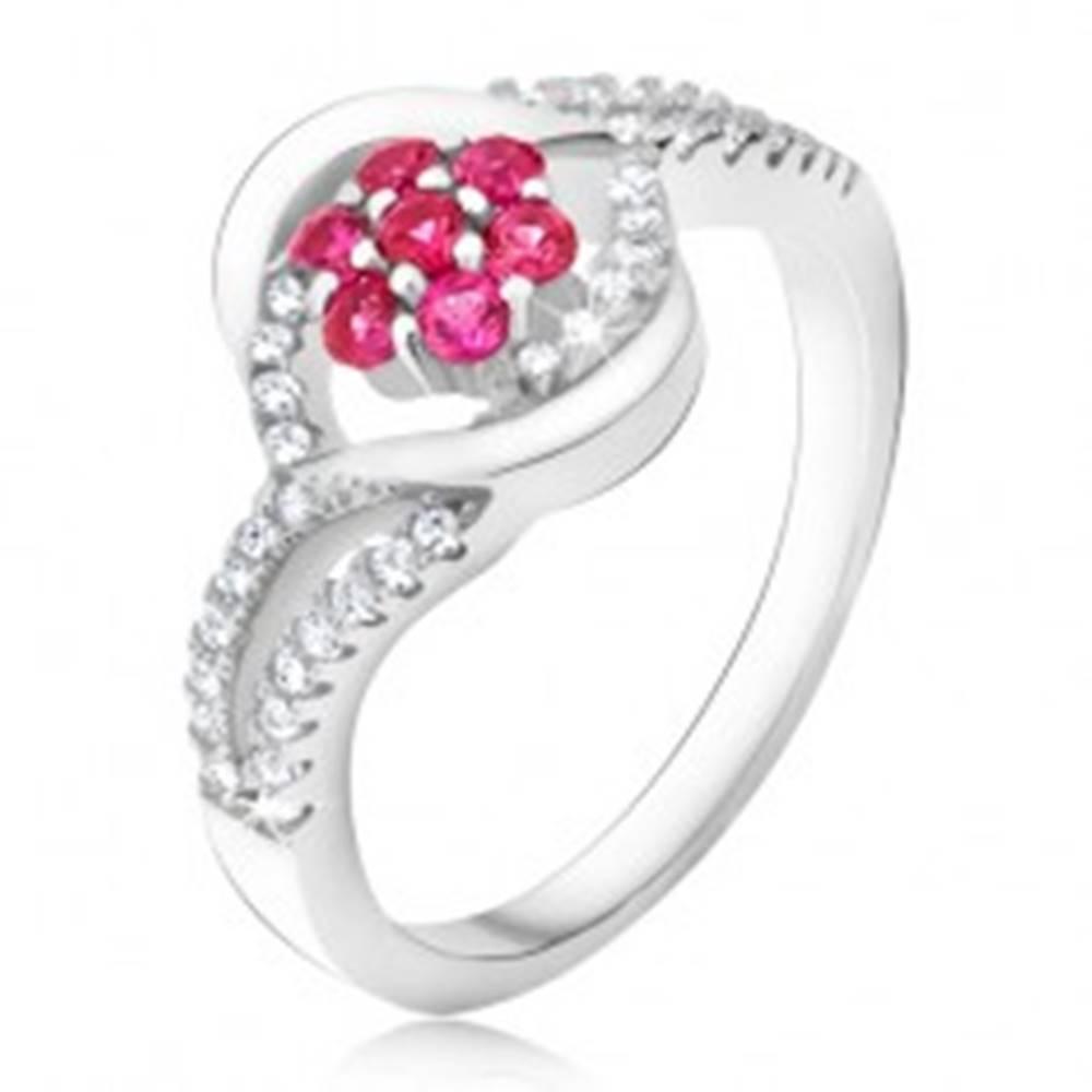Šperky eshop Prsteň zo striebra 925, ružový zirkónový kvet, pery - Veľkosť: 49 mm