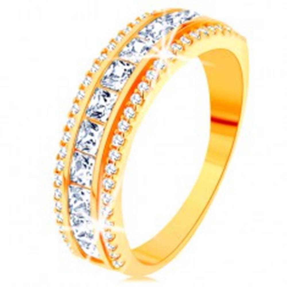 Šperky eshop Prsteň zo žltého 14K zlata - línia čírych zirkónových štvorčekov, trblietavý lem - Veľkosť: 49 mm
