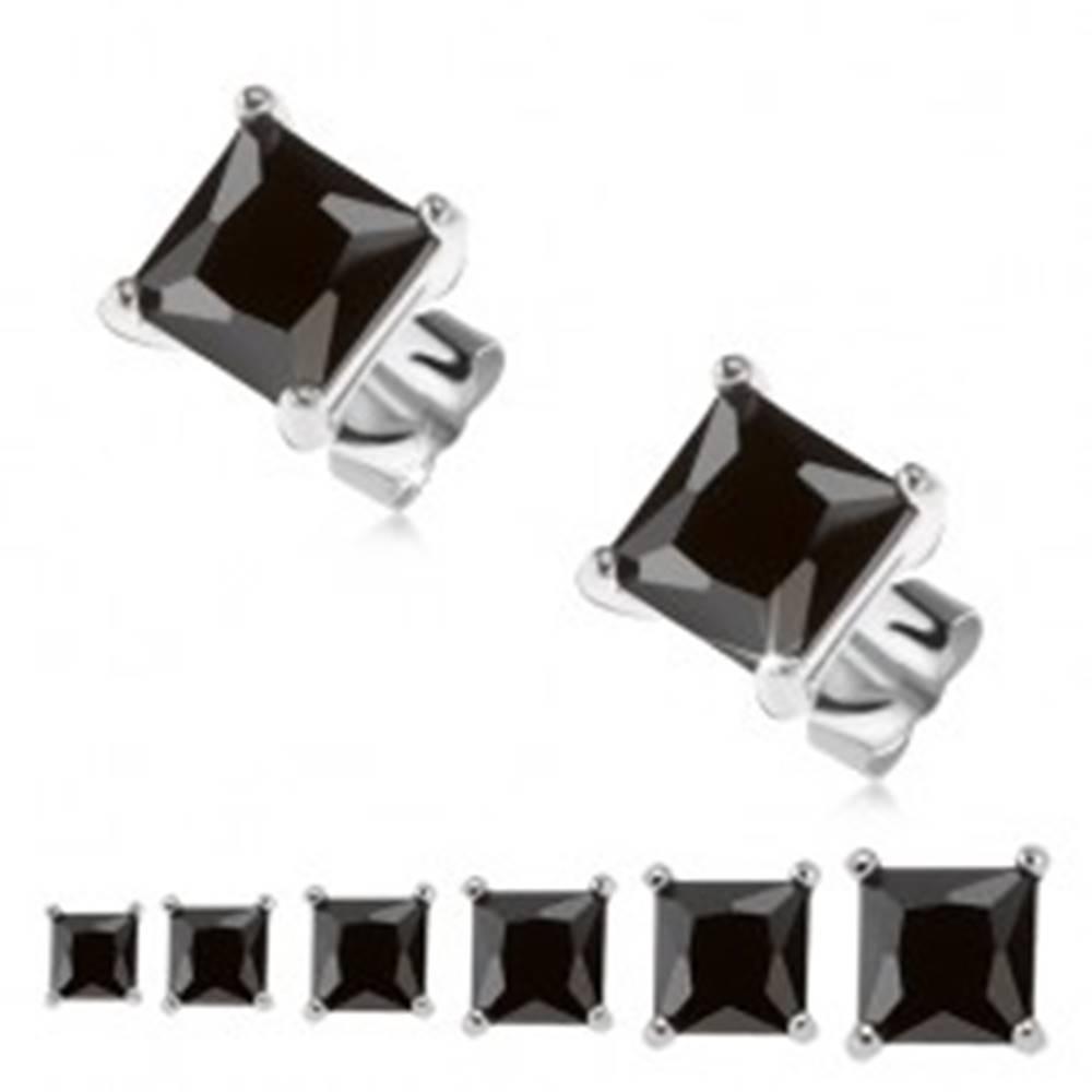 Šperky eshop Puzetové náušnice, striebro 925, čierny štvorcový zirkón - Veľkosť zirkónu: 3 mm
