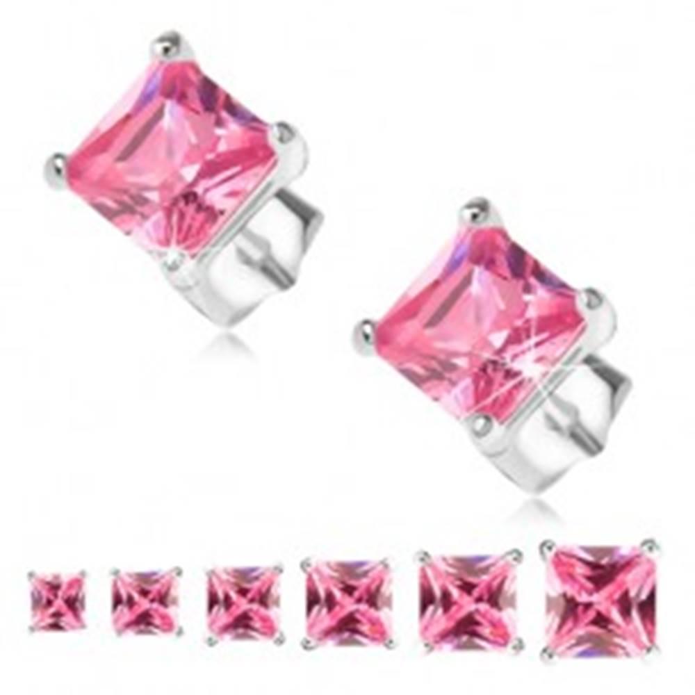 Šperky eshop Puzetové náušnice, striebro 925, ružový štvorcový zirkón - Veľkosť zirkónu: 3 mm