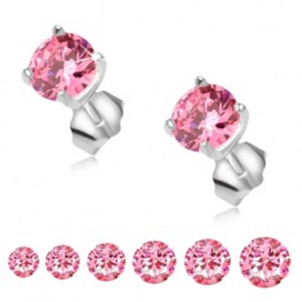 Šperky eshop Puzetové náušnice zo striebra 925, okrúhly ružový kamienok - Veľkosť zirkónu: 3 mm