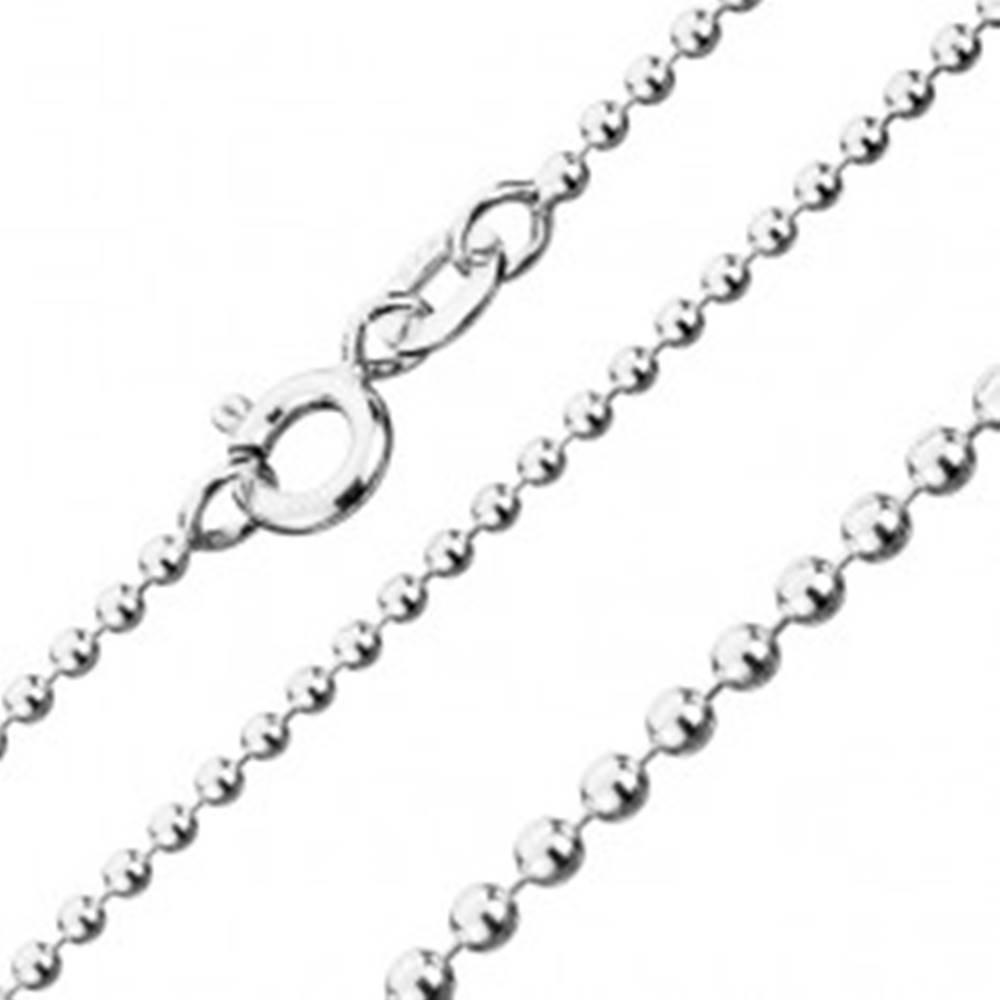 Šperky eshop Retiazka zo striebra 925, armádne guličky, šírka 1,5 mm, dĺžka 460 mm