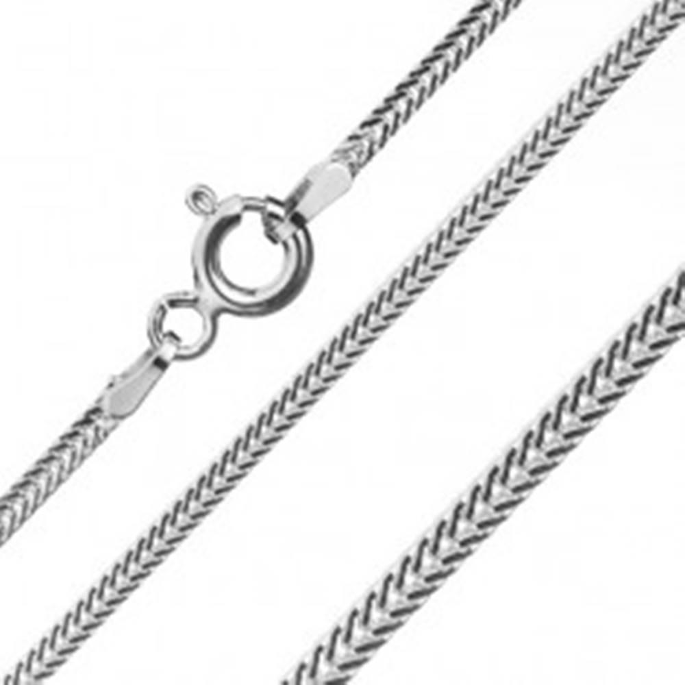 Šperky eshop Retiazka zo striebra 925, sploštené šikmo uložené očká, šírka 1,6 mm, dĺžka 450 mm