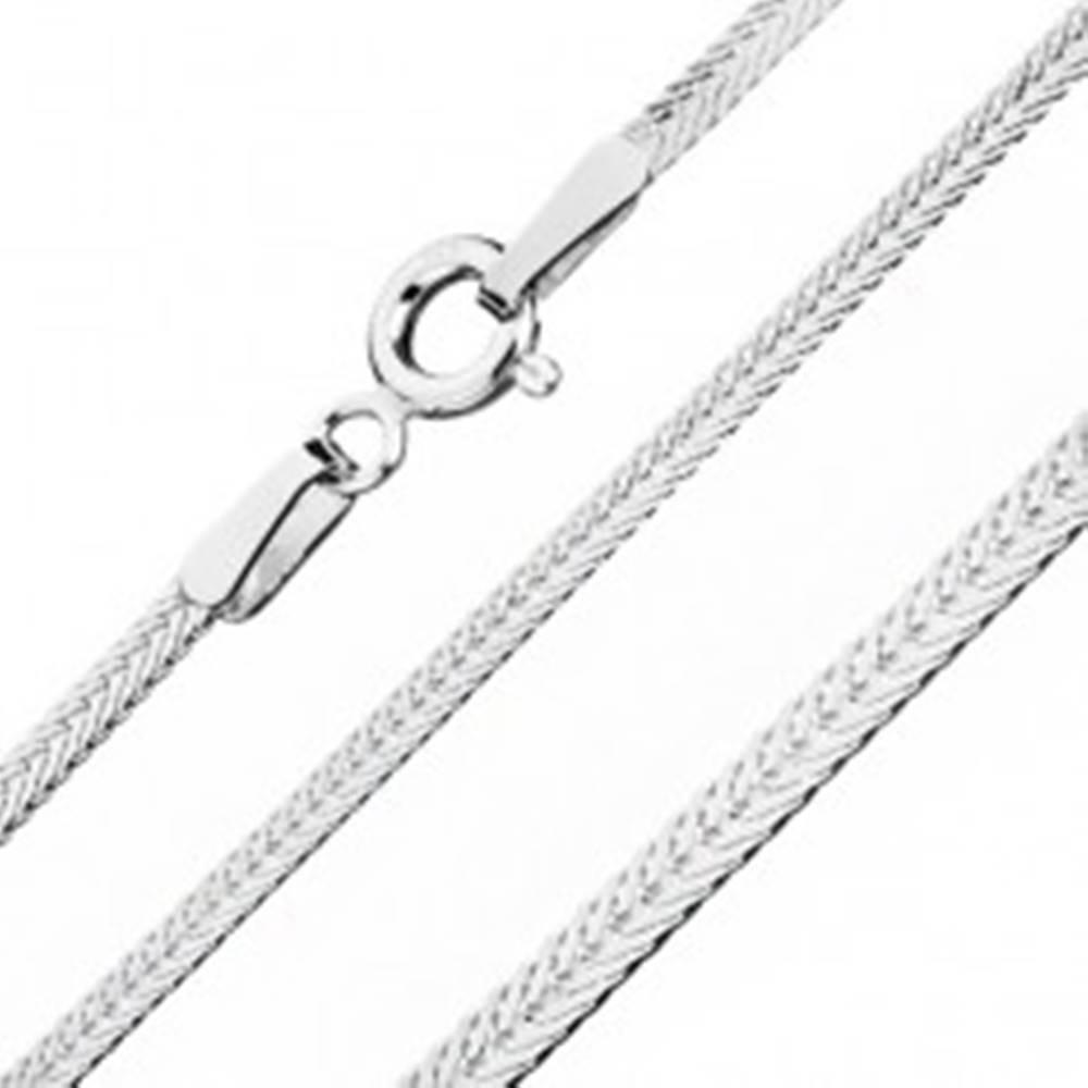 Šperky eshop Strieborná retiazka 925, sploštená so šikmo uloženými očkami, šírka 1,8 mm, dĺžka 450 mm
