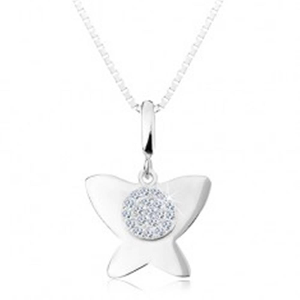 Šperky eshop Strieborný 925 náhrdelník - lesklý plochý motýľ, malý kruh s čírymi zirkónmi