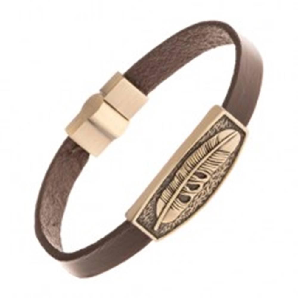 Šperky eshop Tmavohnedý kožený náramok, patinovaná známka mosadznej farby - pierko