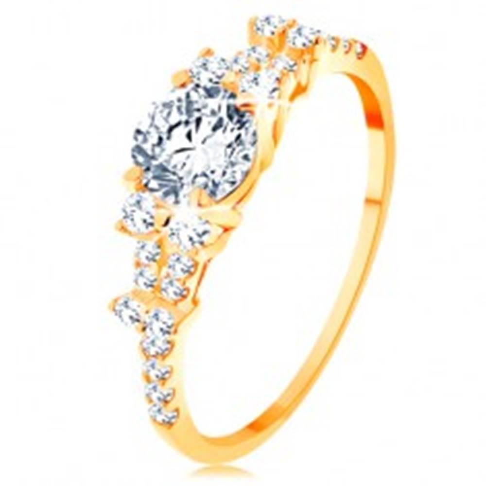 Šperky eshop Zlatý prsteň 585 - rozdelené zirkónové ramená, veľký okrúhly zirkón čírej farby - Veľkosť: 49 mm