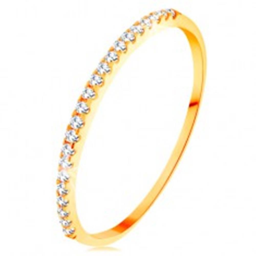 Šperky eshop Zlatý prsteň 585 - tenké lesklé ramená, ligotavá zirkónová línia čírej farby - Veľkosť: 49 mm