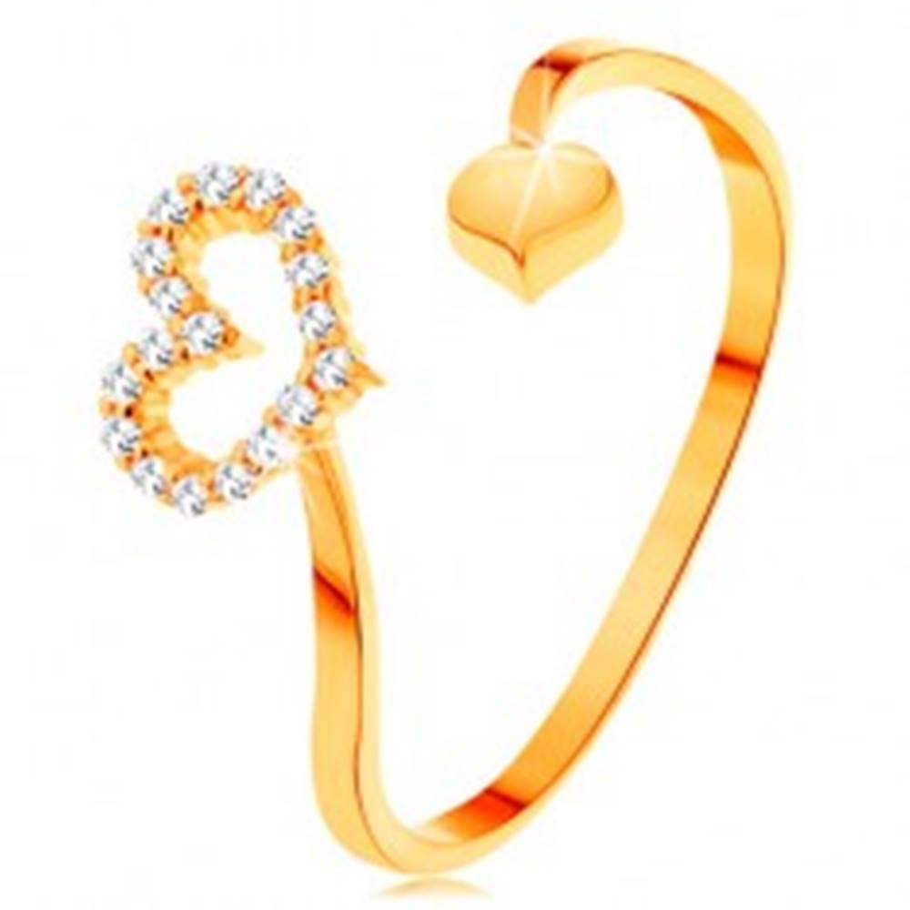 Šperky eshop Zlatý prsteň 585 - zvlnené ramená ukončené obrysom srdca a plným srdiečkom - Veľkosť: 50 mm