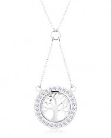 Strieborný náhrdelník 925, retiazka a prívesok - strom života so zirkónovým lemom