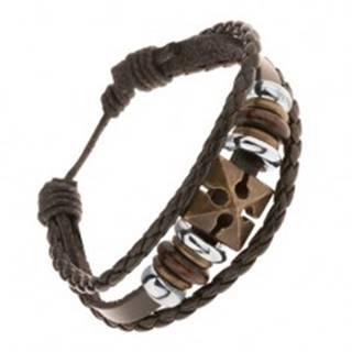 Hnedý nastaviteľný náramok z umelej kože, kríž, korálky z dreva a ocele