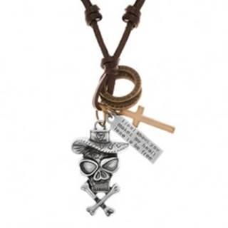 Náhrdelník - šnúrka z umelej kože, lebka v klobúku, kríž, známka, obruče