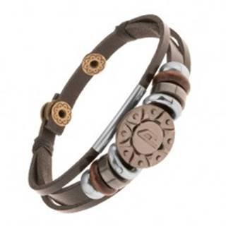 Nastaviteľný kožený náramok z troch pásov, korálky, oceľové slnko