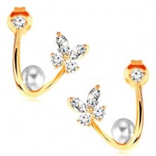 Náušnice v žltom 14K zlate - lesklá zahnutá línia, motýľ, perla a zirkón