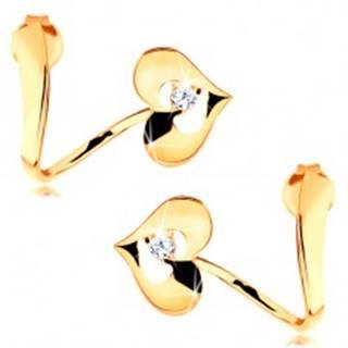 Náušnice zo žltého 14K zlata - zvlnená stuha, lesklé srdce s výrezom a zirkónom