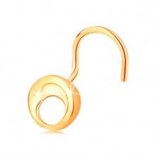 Piercing do nosa zo žltého 14K zlata - malý lesklý kruh s výrezom, zahnutý
