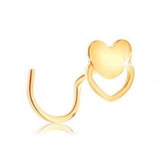 Zahnutý piercing do nosa zo žltého 14K zlata - srdiečko a obrys srdca