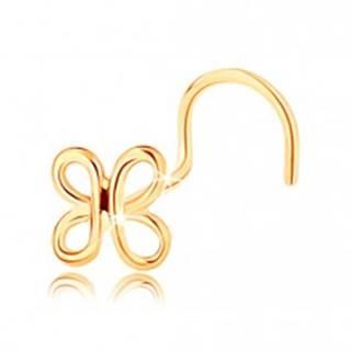 Zahnutý zlatý piercing do nosa 585 - lesklá kontúra motýlika
