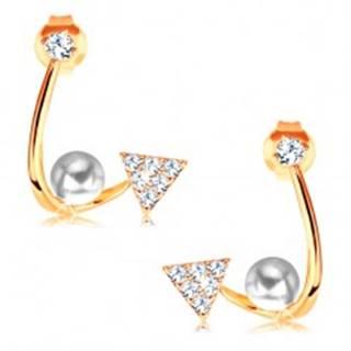 Zlaté náušnice 585 - lesklá zahnutá línia, ligotavý trojuholník, perla a zirkón