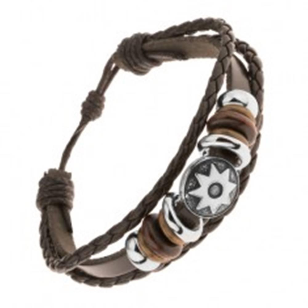 Šperky eshop Kožený multináramok, oceľové a drevené korálky, patinovaný kruh, slnko