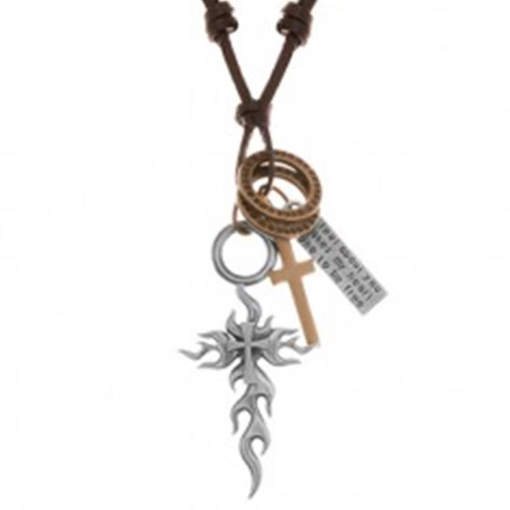 Šperky eshop Náhrdelník - šnúrka z umelej kože, veľký a malý kríž, známka, obruče